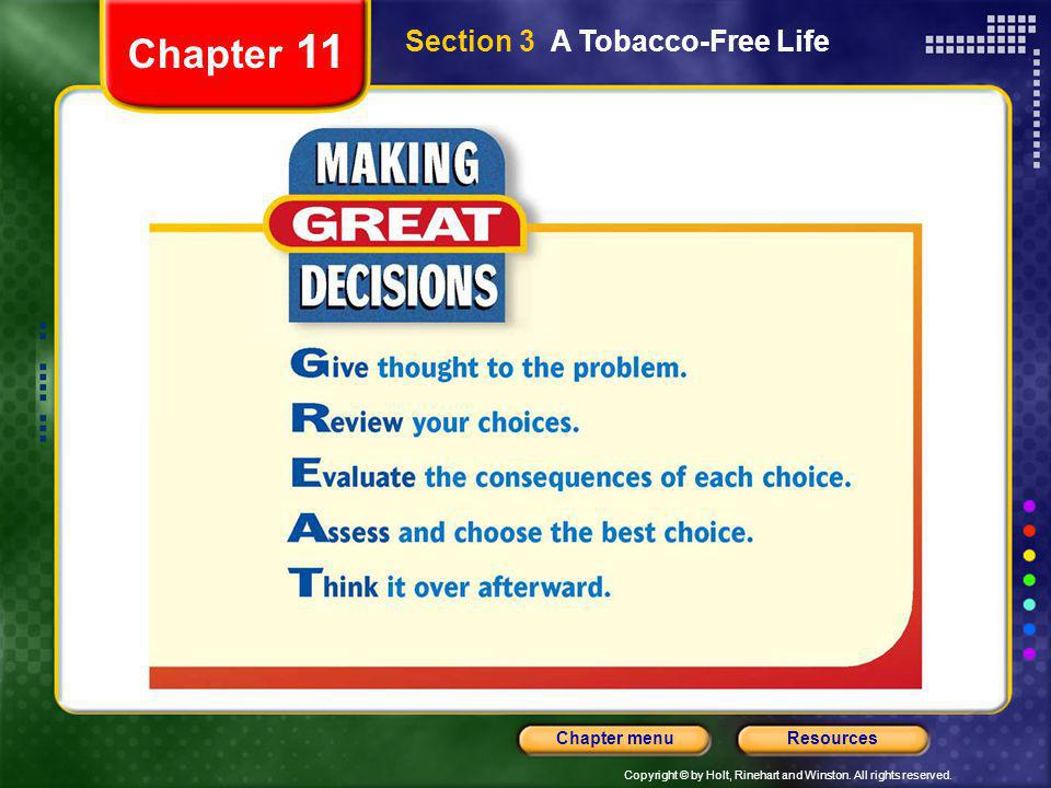 Chapter 11 Section 3 A Tobacco-Free Life