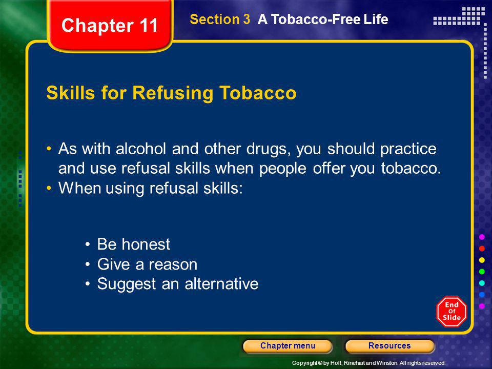 Skills for Refusing Tobacco