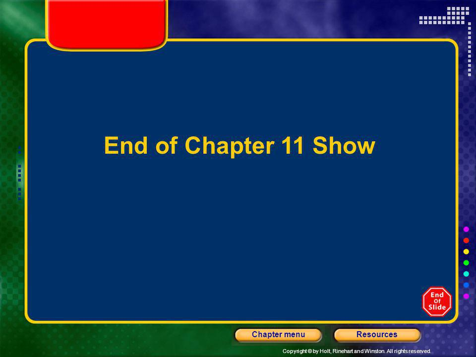 End of Chapter 11 Show Header – dark yellow 24 points Arial Bold