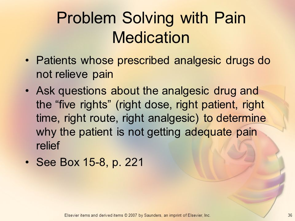 Problem Solving with Pain Medication