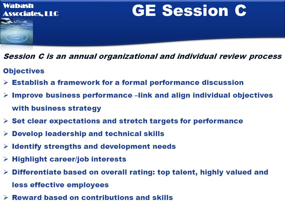 GE Session C Session C is an annual organizational and individual review process. Objectives.