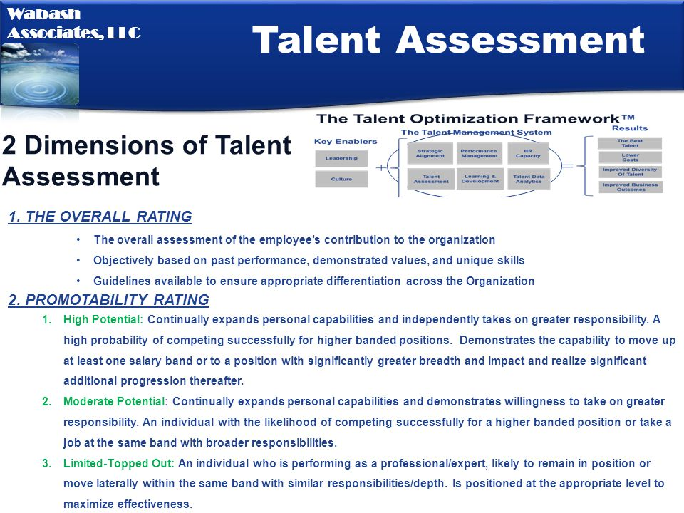 Talent Assessment 2 Dimensions of Talent Assessment