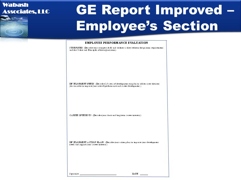 GE Report Improved – Employee's Section