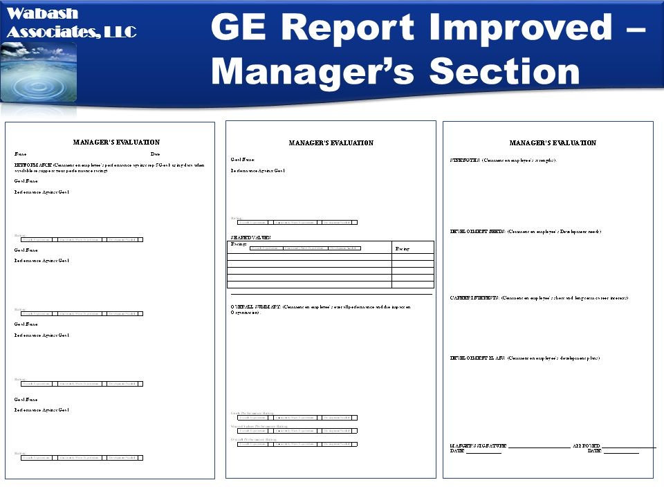 GE Report Improved – Manager's Section