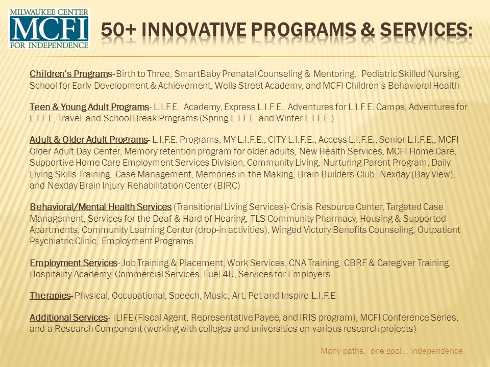 50+ Innovative Programs & Services: