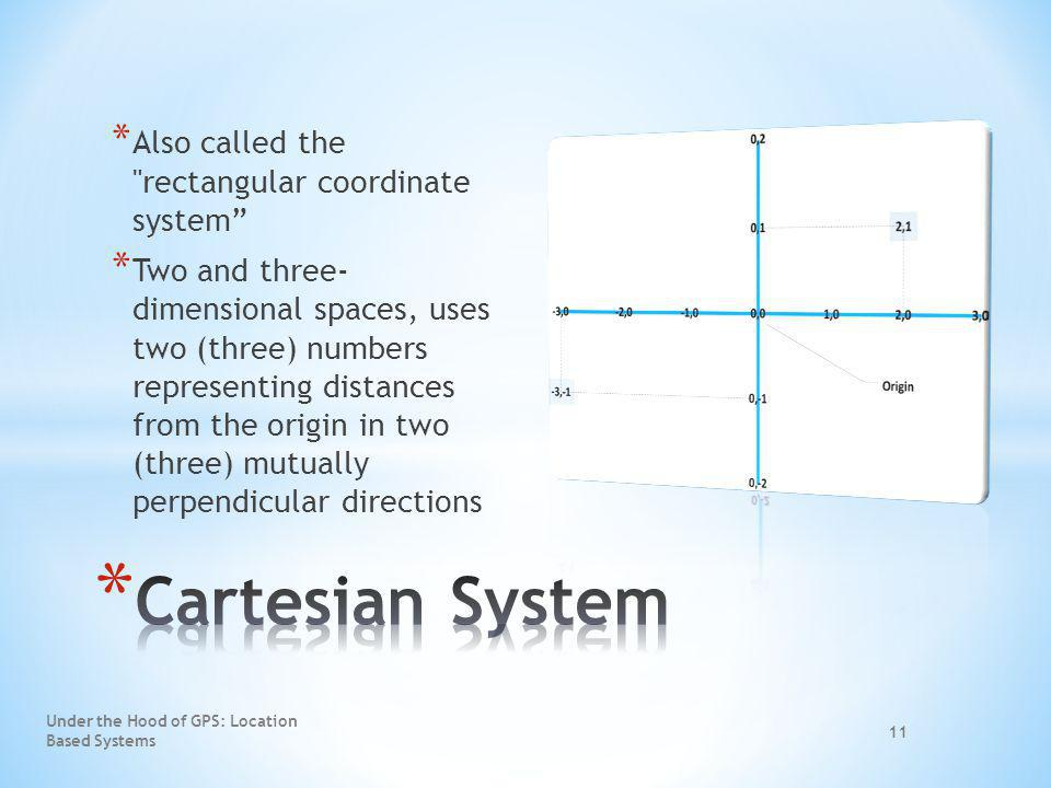 Cartesian System Also called the rectangular coordinate system