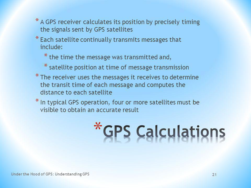 A GPS receiver calculates its position by precisely timing the signals sent by GPS satellites