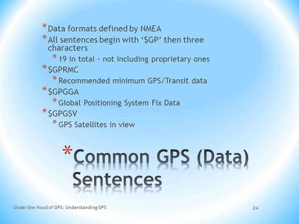 Common GPS (Data) Sentences