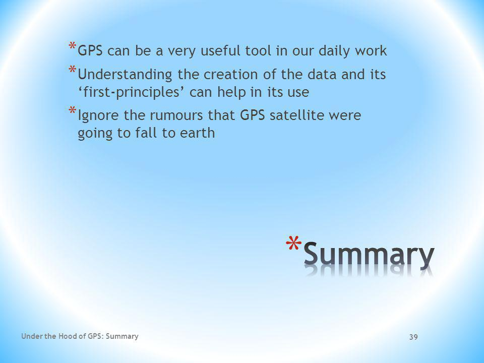Summary GPS can be a very useful tool in our daily work