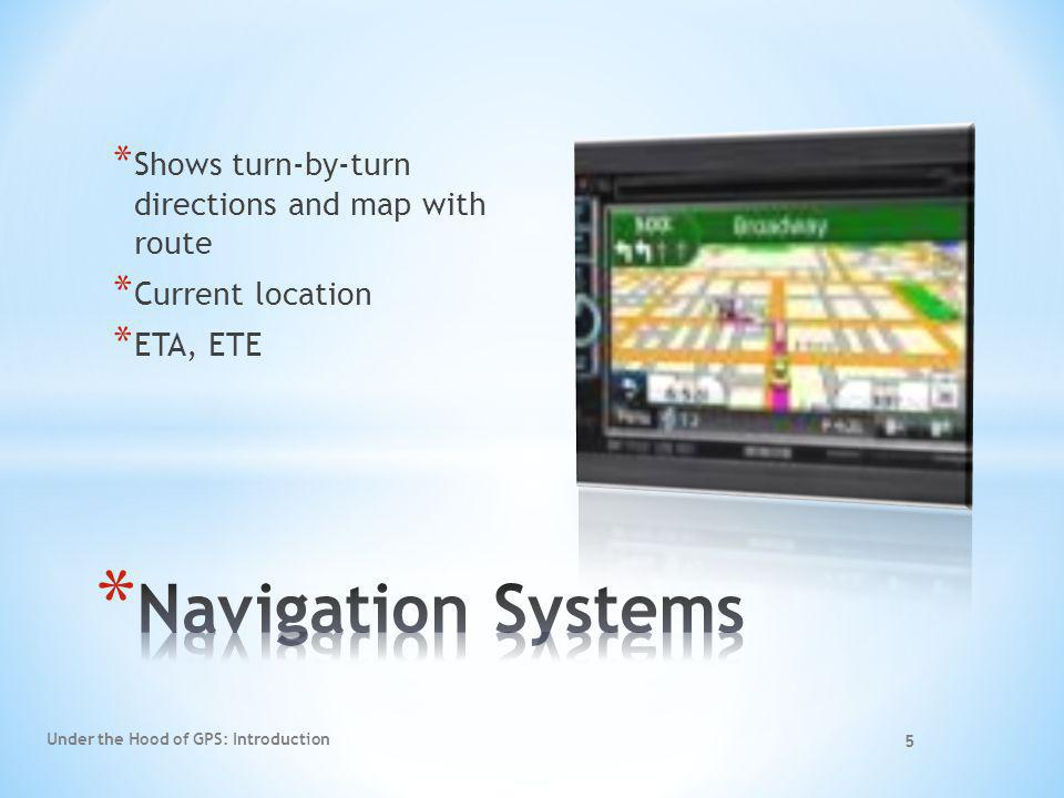 Navigation Systems Shows turn-by-turn directions and map with route