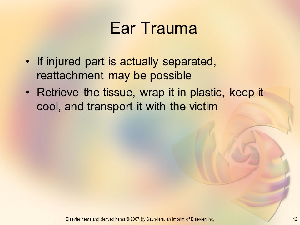 Ear Trauma If injured part is actually separated, reattachment may be possible.