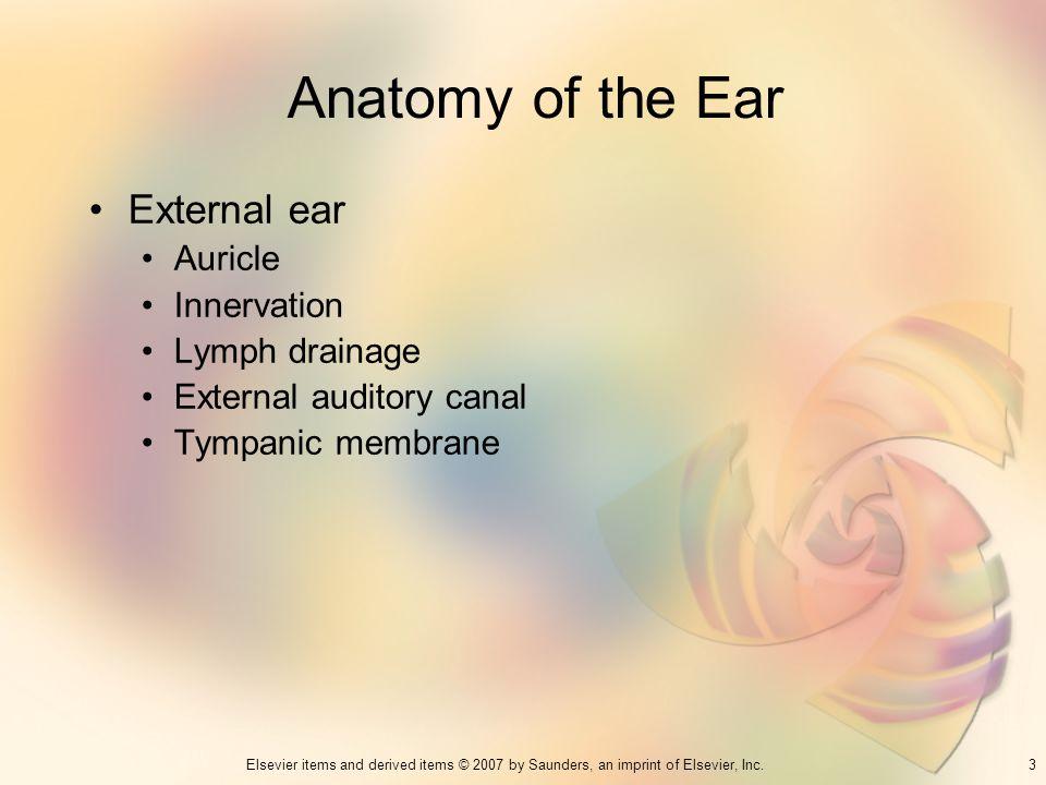 Anatomy of the Ear External ear Auricle Innervation Lymph drainage