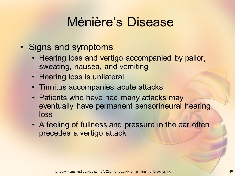 Ménière's Disease Signs and symptoms