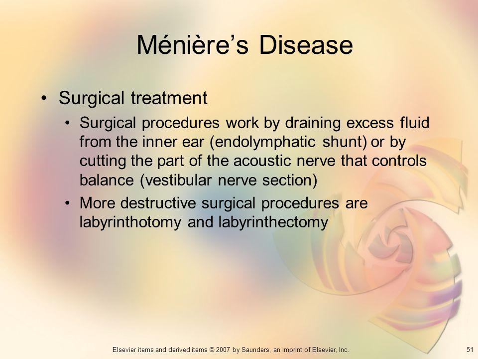 Ménière's Disease Surgical treatment