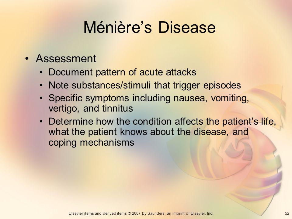 Ménière's Disease Assessment Document pattern of acute attacks