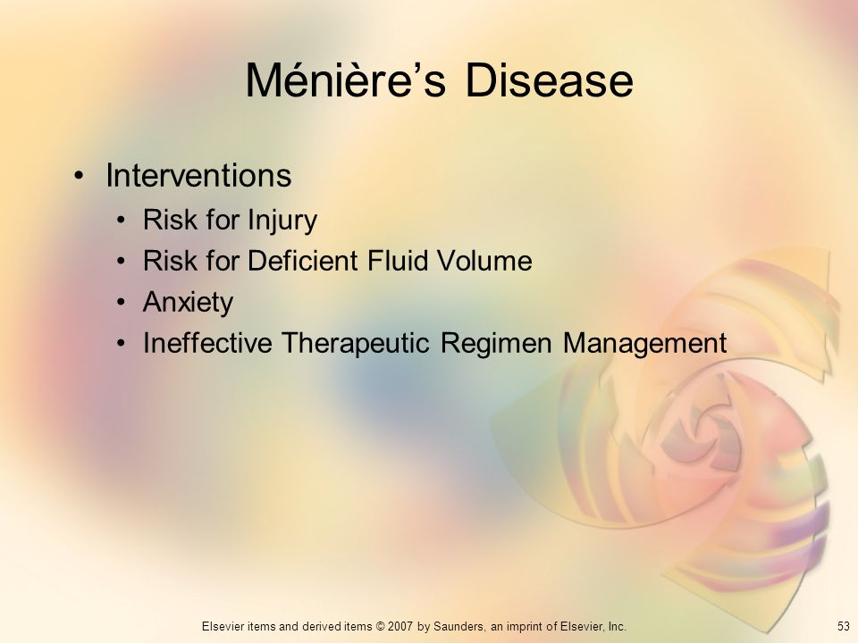 Ménière's Disease Interventions Risk for Injury