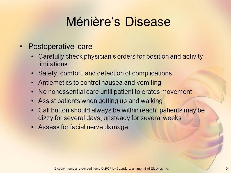 Ménière's Disease Postoperative care