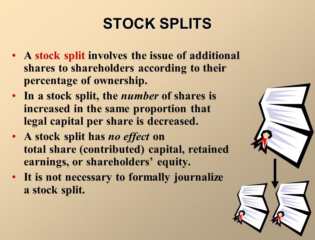STOCK SPLITS A stock split involves the issue of additional shares to shareholders according to their percentage of ownership.