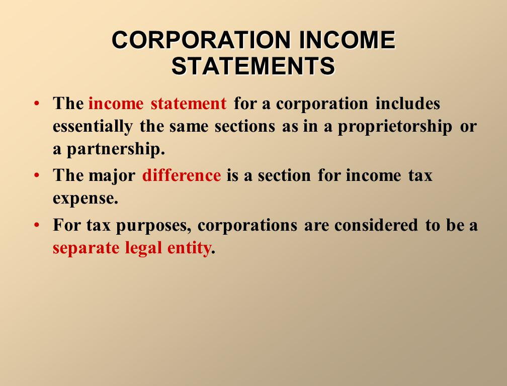 CORPORATION INCOME STATEMENTS