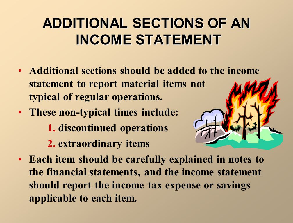 ADDITIONAL SECTIONS OF AN INCOME STATEMENT