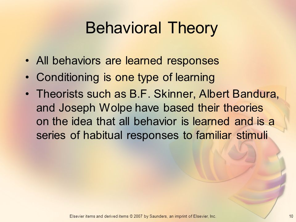 Behavioral Theory All behaviors are learned responses