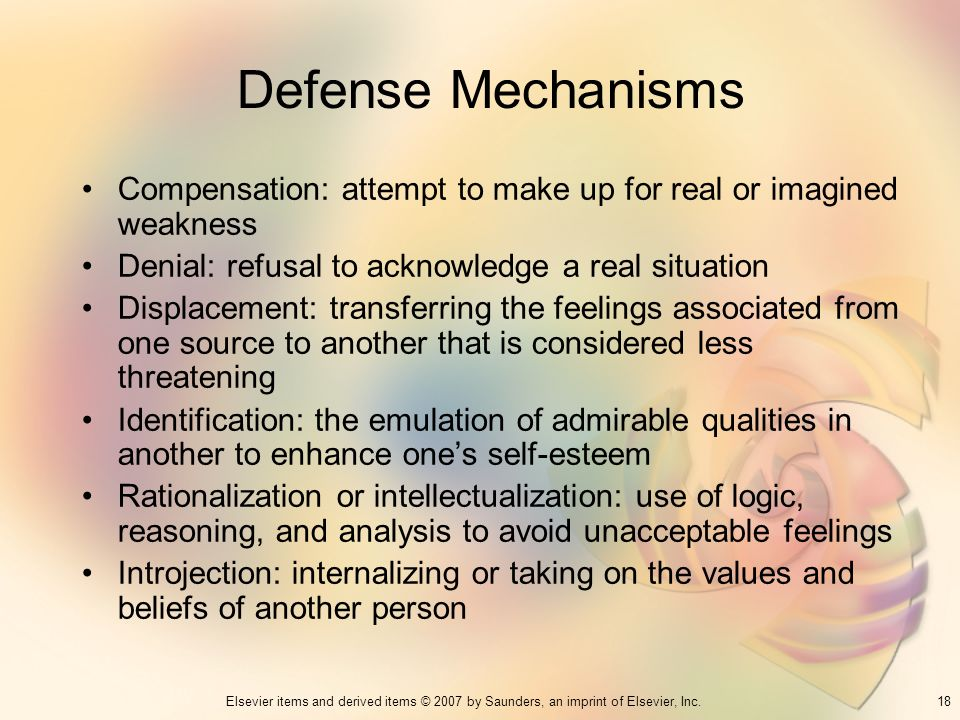 Defense Mechanisms Compensation: attempt to make up for real or imagined weakness. Denial: refusal to acknowledge a real situation.