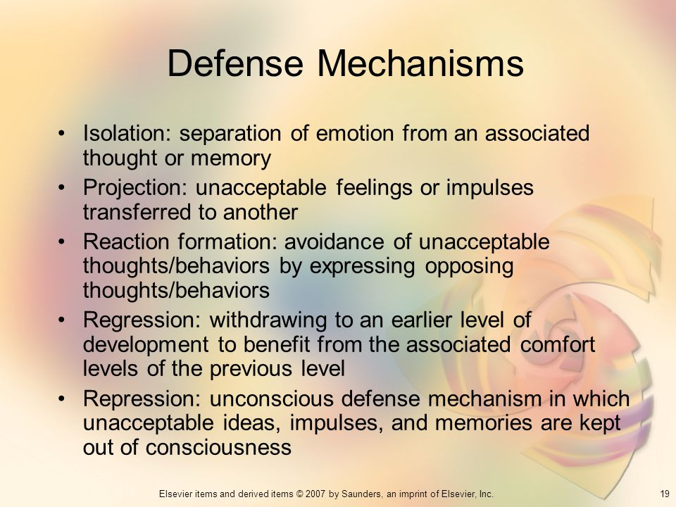 Defense Mechanisms Isolation: separation of emotion from an associated thought or memory.