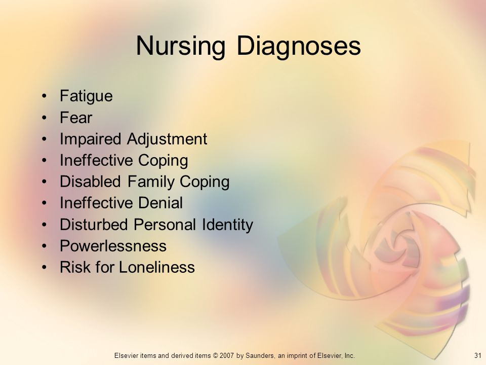 Nursing Diagnoses Fatigue Fear Impaired Adjustment Ineffective Coping