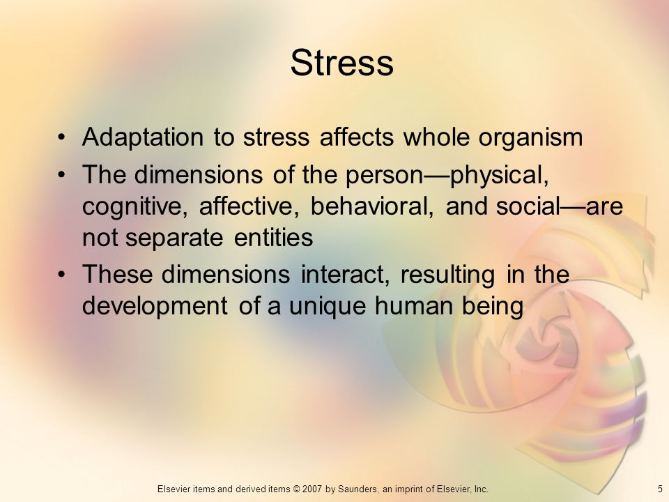 Stress Adaptation to stress affects whole organism