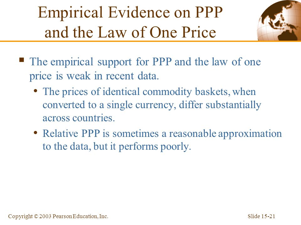 Empirical Evidence on PPP and the Law of One Price