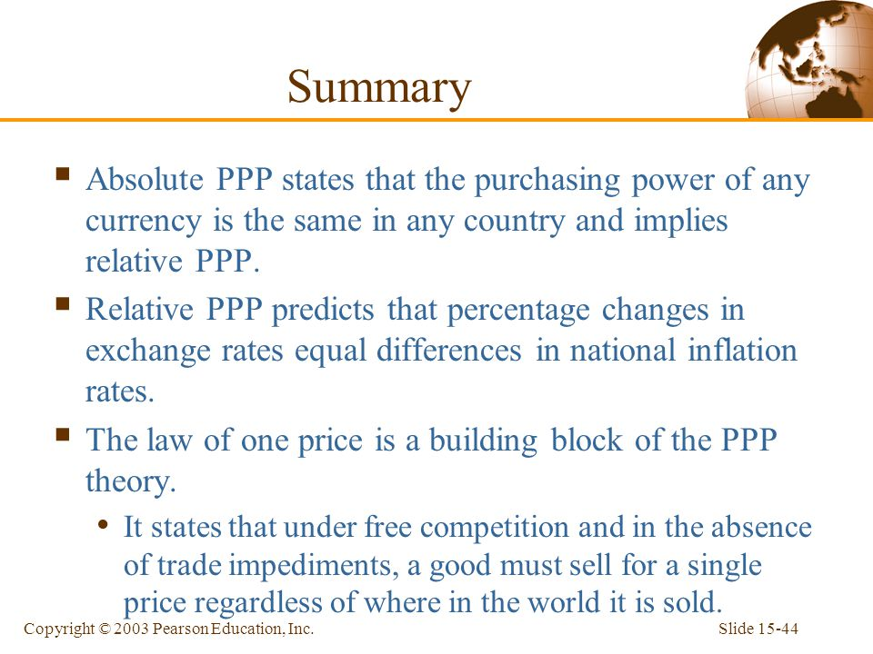 Summary Absolute PPP states that the purchasing power of any currency is the same in any country and implies relative PPP.