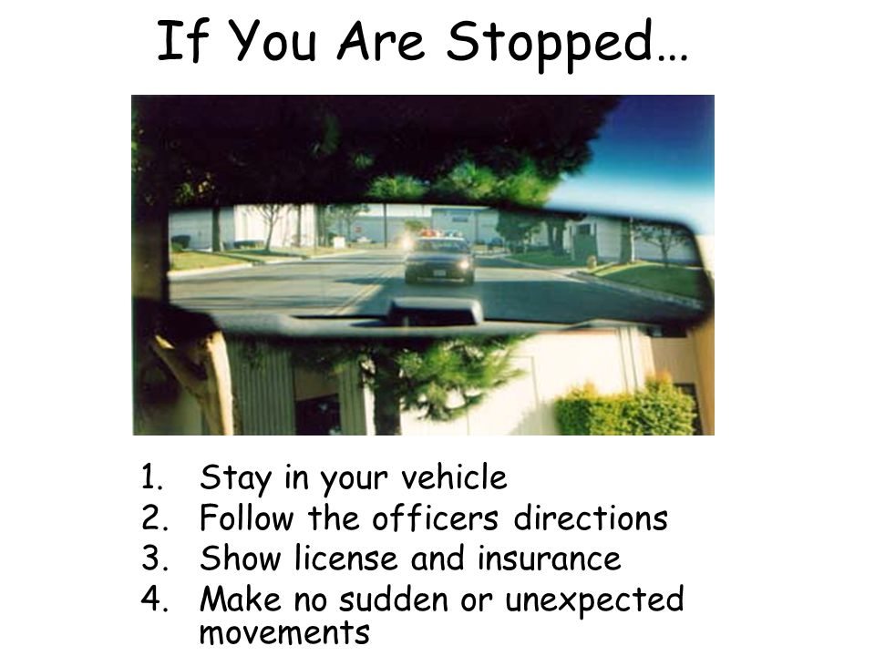 If You Are Stopped… Stay in your vehicle
