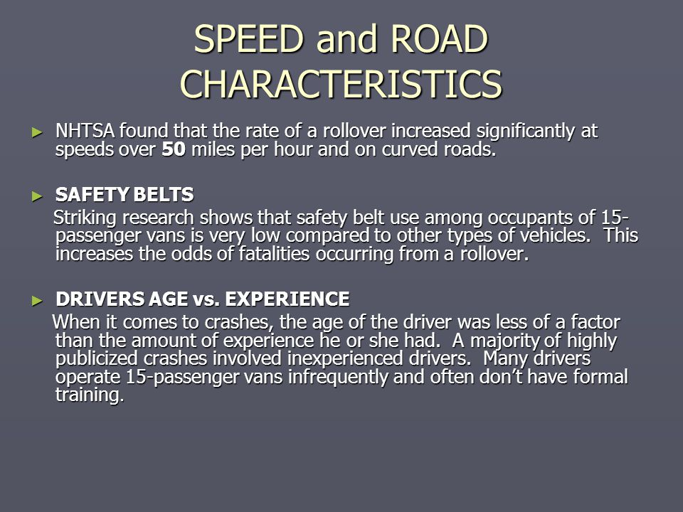 SPEED and ROAD CHARACTERISTICS