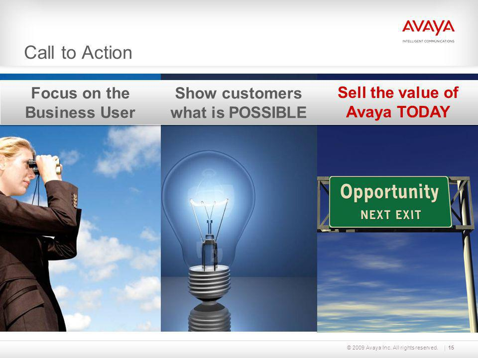 Show customers what is POSSIBLE Sell the value of Avaya TODAY