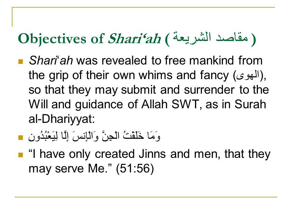 Objectives of Shari'ah ( مقاصد الشريعة )