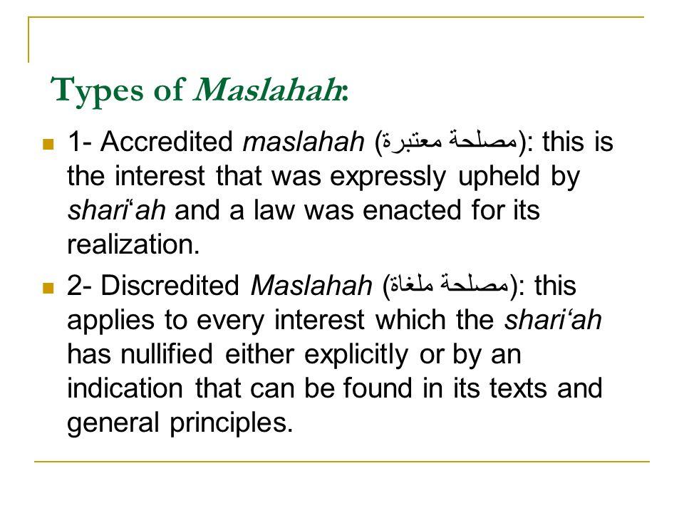 Types of Maslahah: