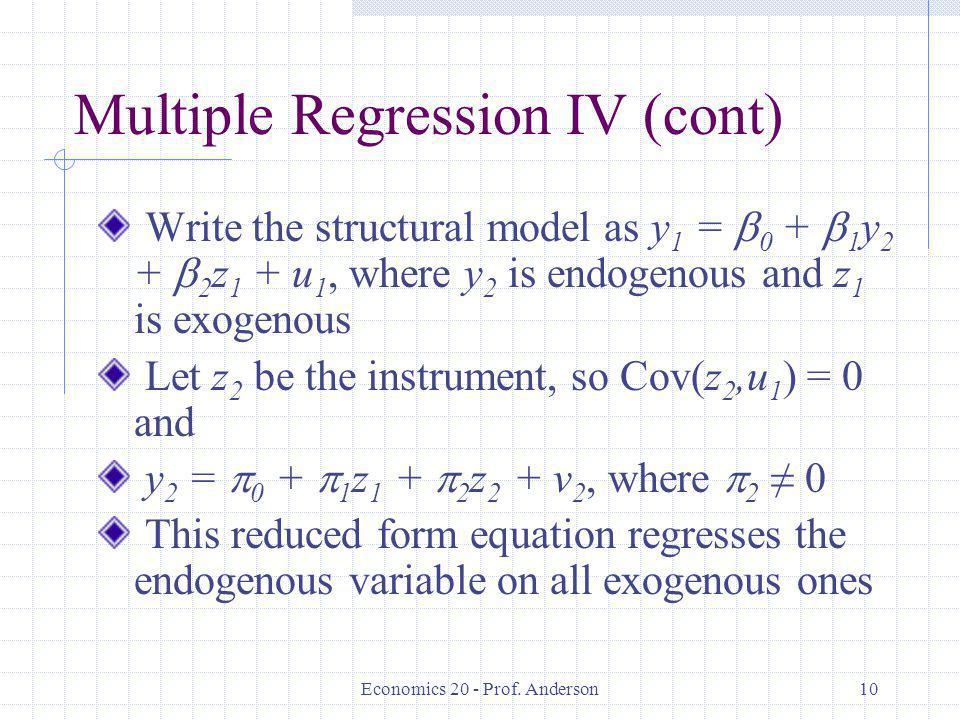 Multiple Regression IV (cont)