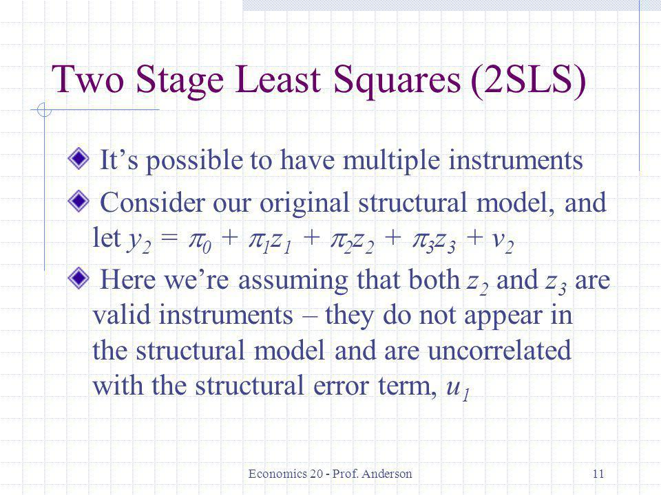 Two Stage Least Squares (2SLS)