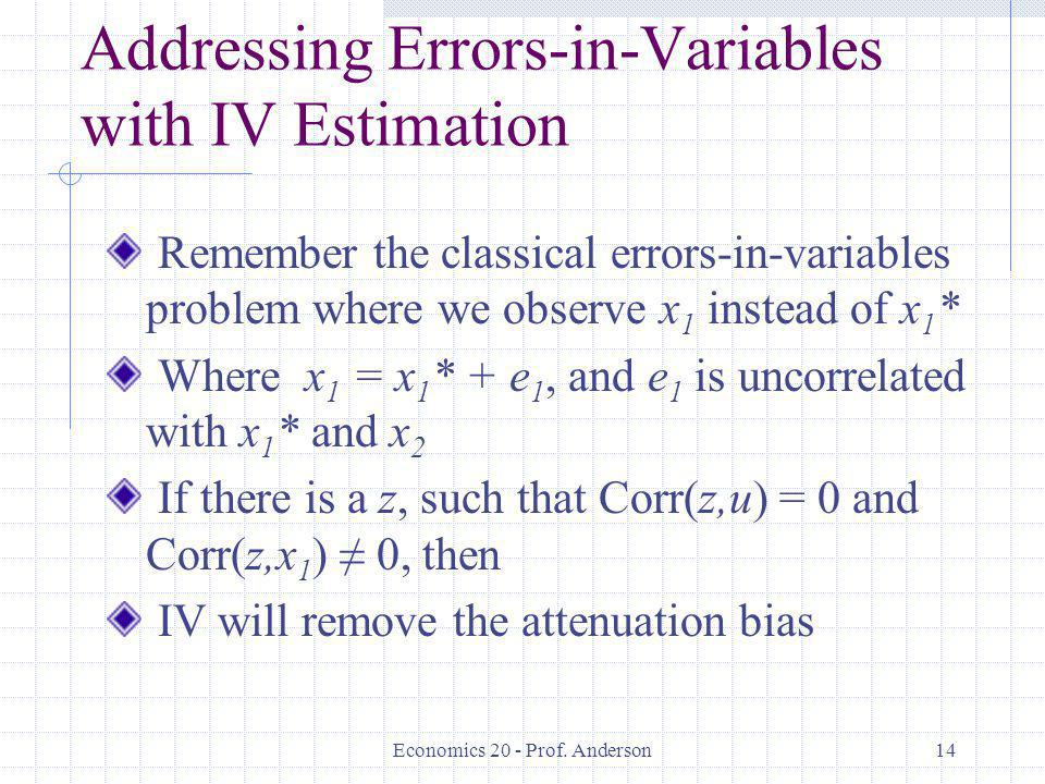 Addressing Errors-in-Variables with IV Estimation