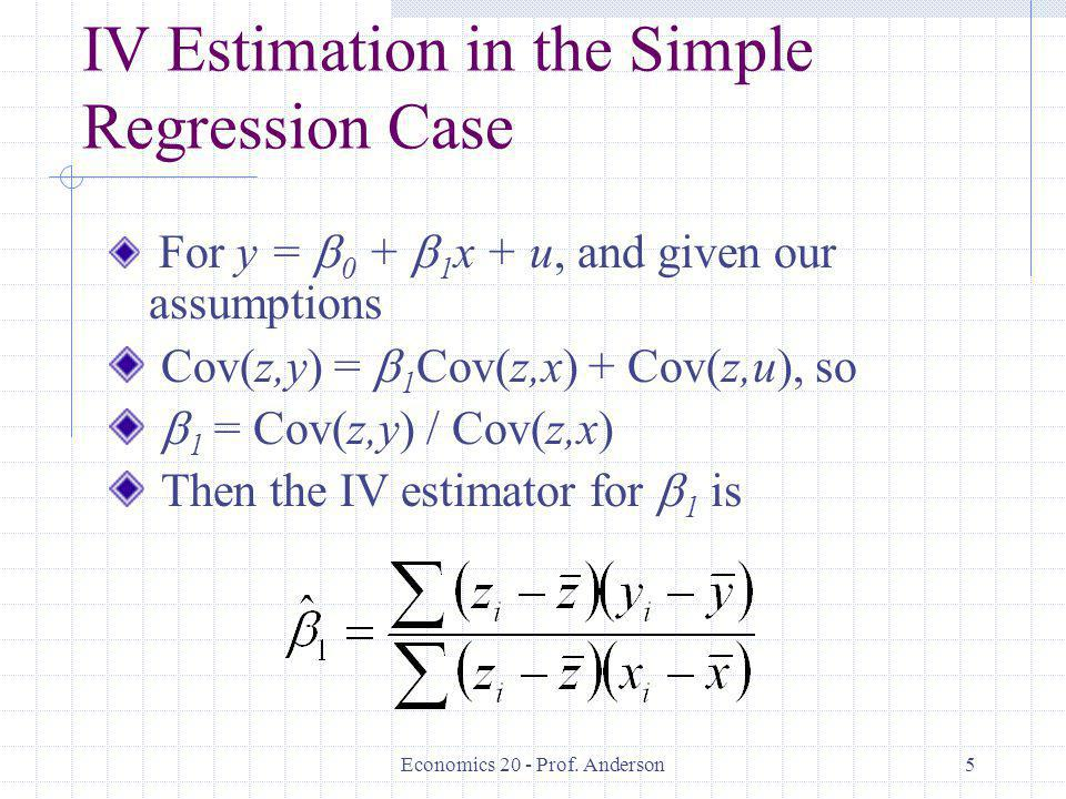 IV Estimation in the Simple Regression Case
