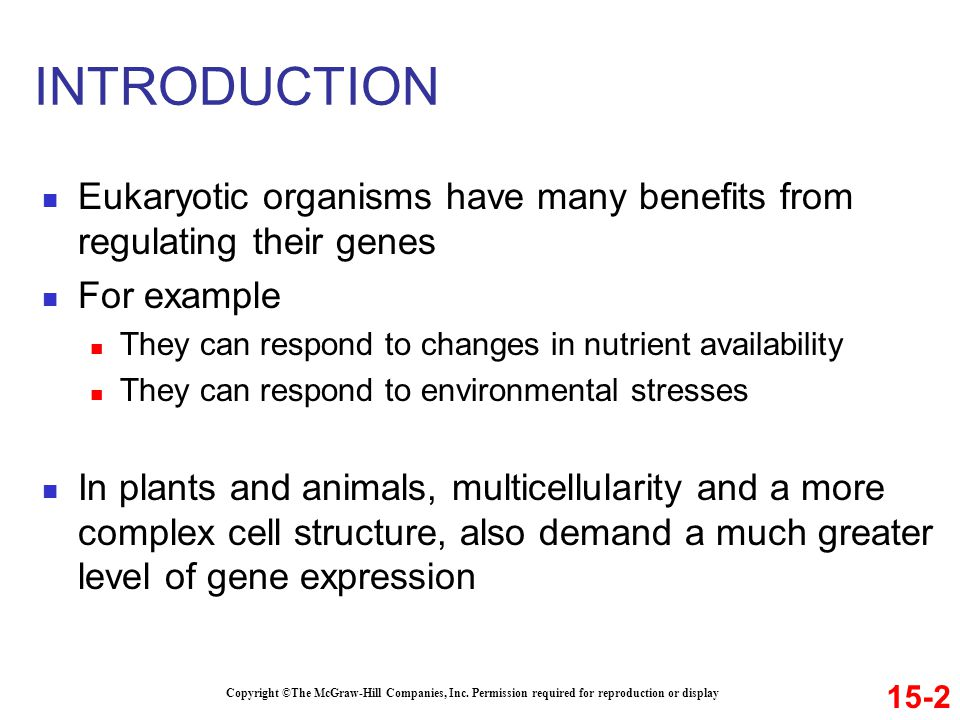 INTRODUCTION Eukaryotic organisms have many benefits from regulating their genes. For example. They can respond to changes in nutrient availability.