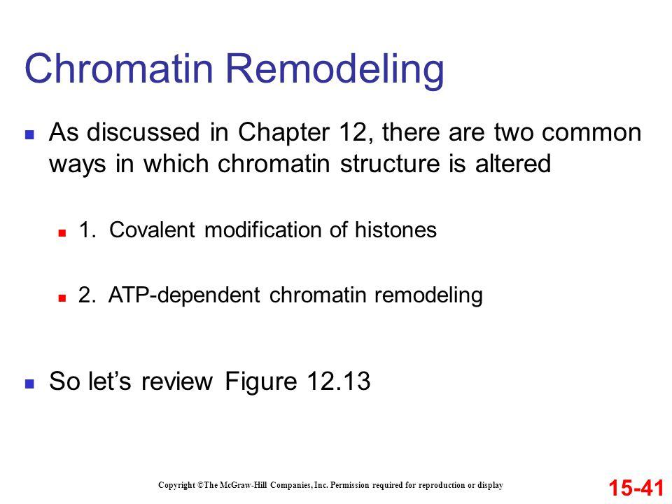 Chromatin Remodeling As discussed in Chapter 12, there are two common ways in which chromatin structure is altered.