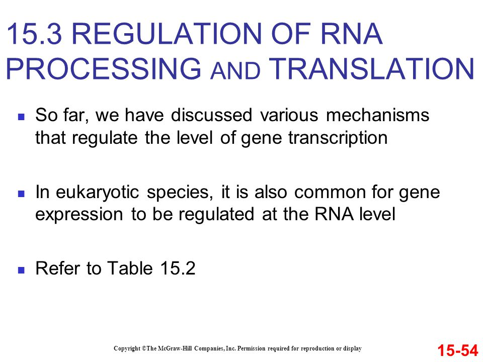 15.3 REGULATION OF RNA PROCESSING AND TRANSLATION