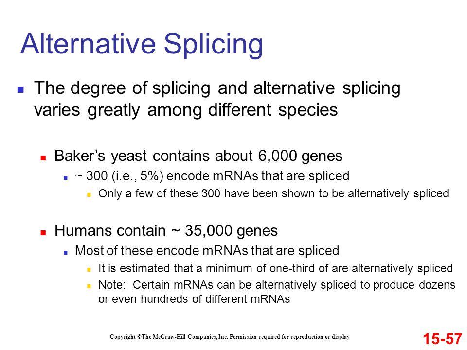 Alternative Splicing The degree of splicing and alternative splicing varies greatly among different species.