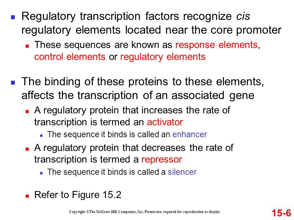 Regulatory transcription factors recognize cis regulatory elements located near the core promoter