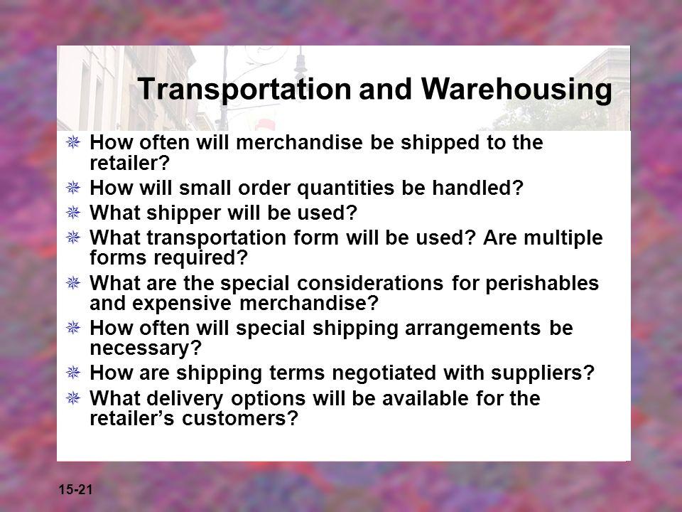 Transportation and Warehousing