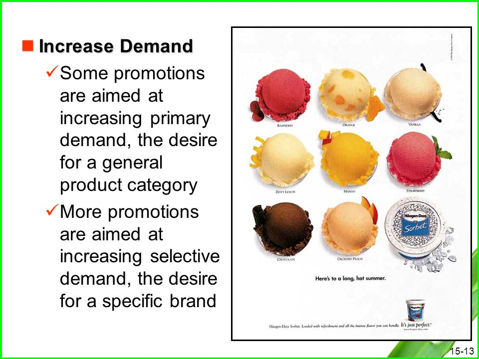 Increase Demand Some promotions are aimed at increasing primary demand, the desire for a general product category.