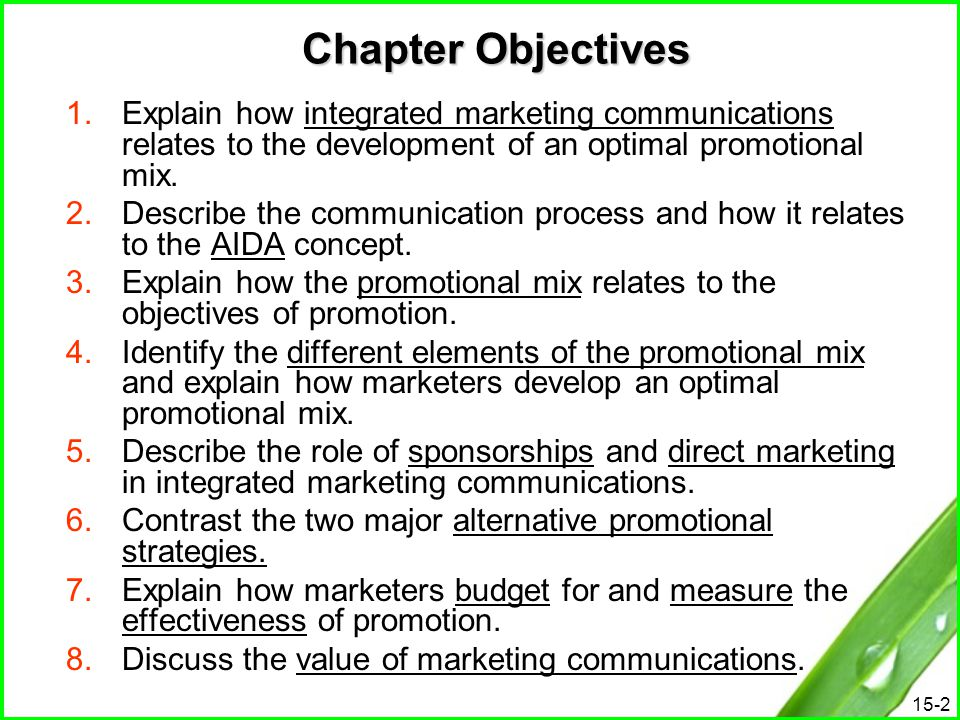 Chapter Objectives Explain how integrated marketing communications relates to the development of an optimal promotional mix.