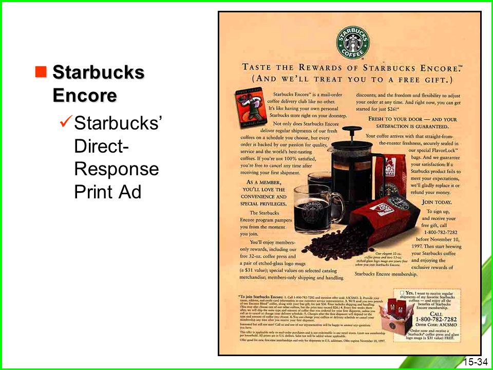 Starbucks Encore Starbucks' Direct-Response Print Ad