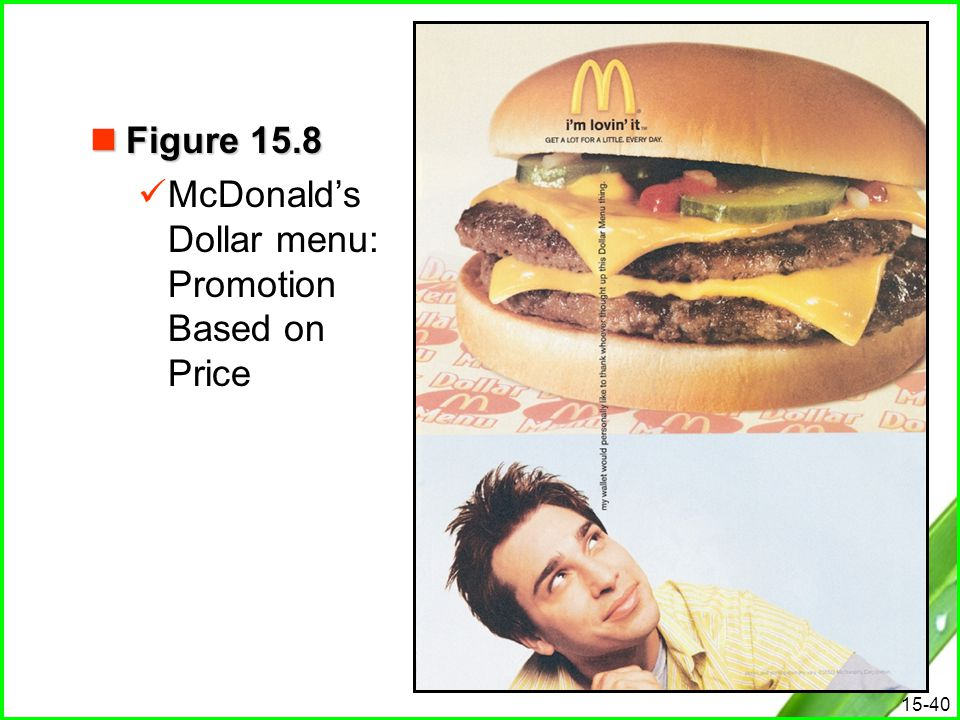 Figure 15.8 McDonald's Dollar menu: Promotion Based on Price